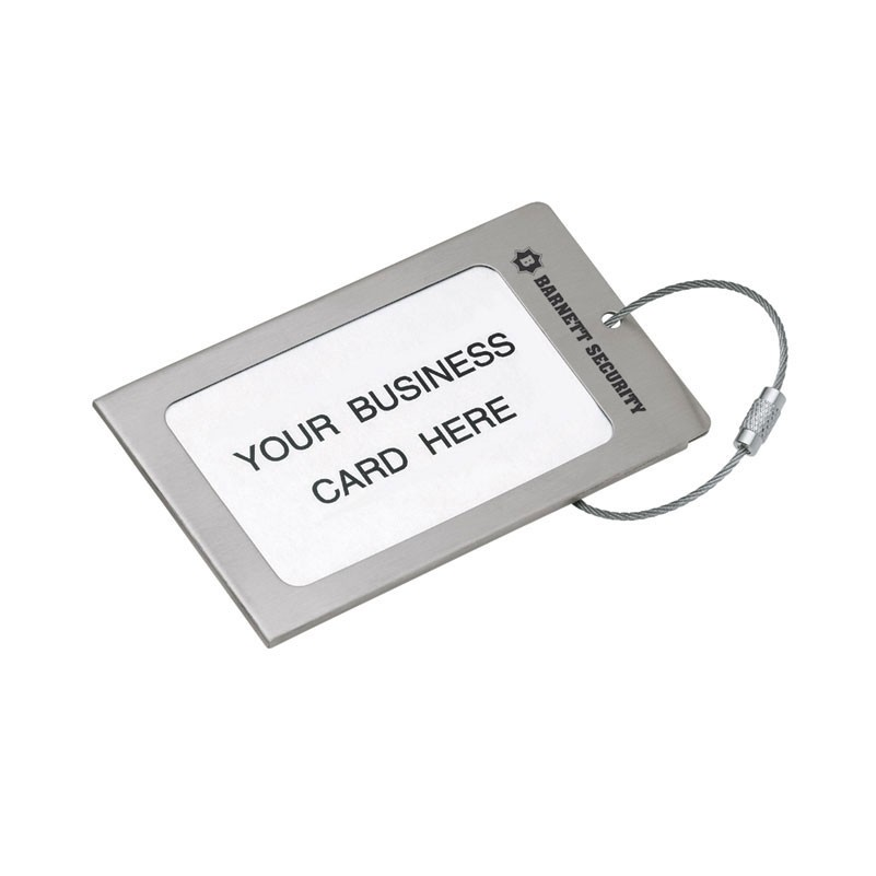 Brushed Steel Luggage Tag w/ Steel Cable Strap