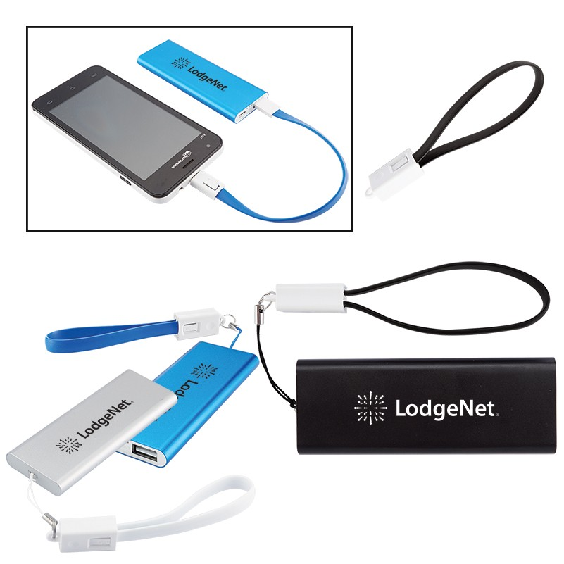 Slim Aluminum Power Bank Charger with Micro USB Cable Wrist Strap