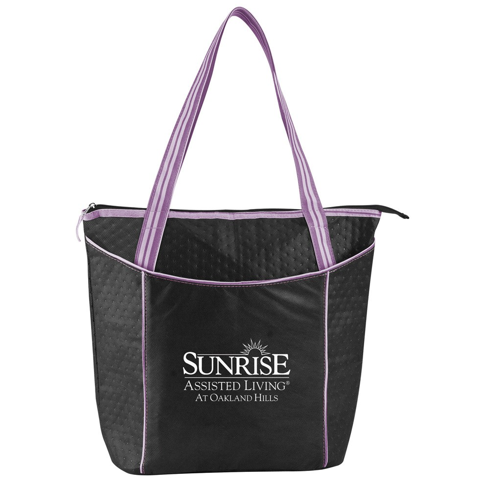 Striped Non-Woven Cooler Tote