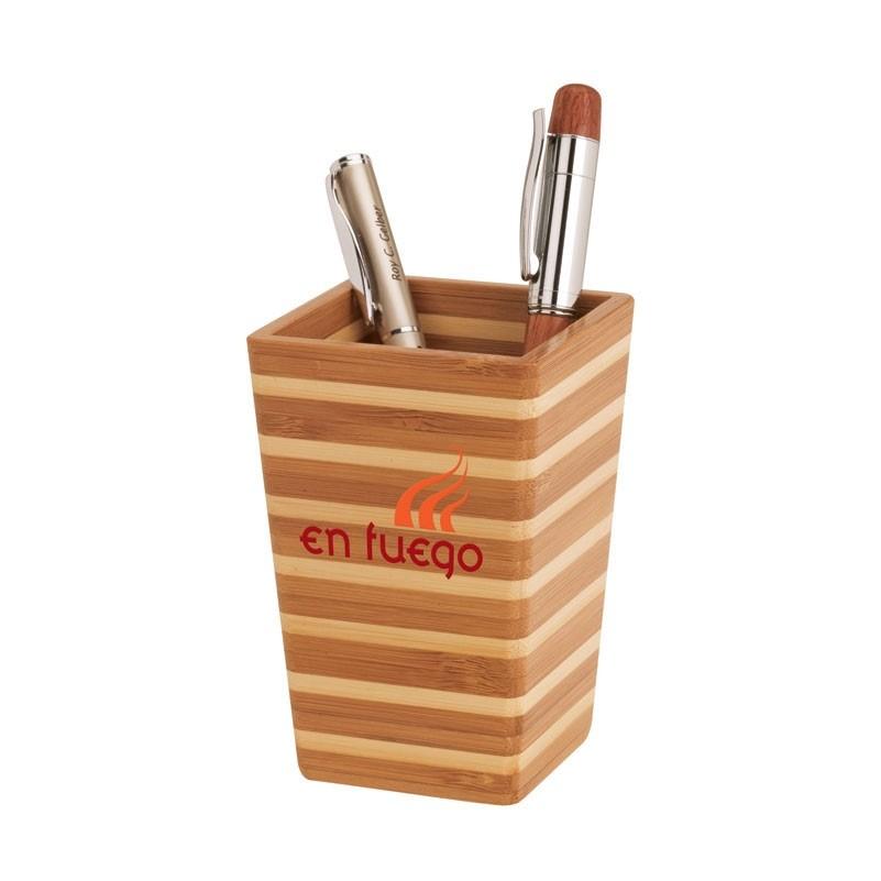 Zen Striped Bamboo Pen Holder