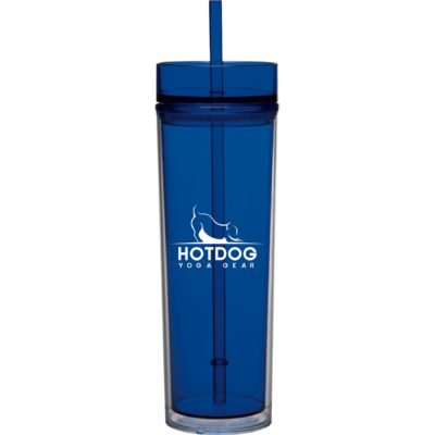 16 Oz. Tube Tumbler w/Straw