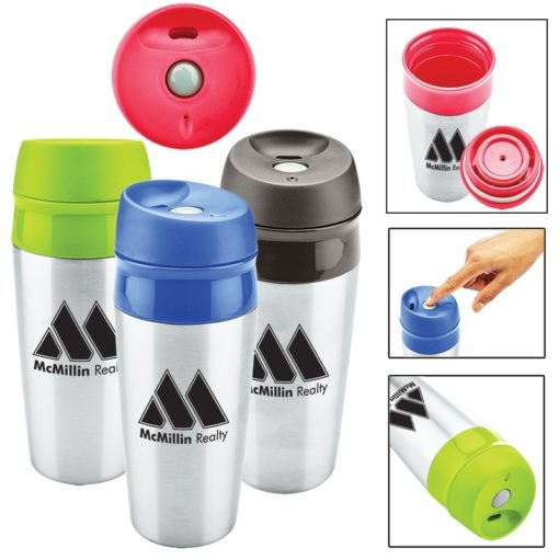 13 oz. Two Tone Stainless Tumbler with Push Locking Lid