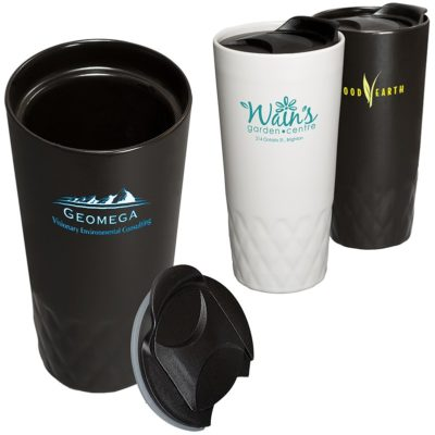 14 Oz. Double Wall Ceramic Textured Tumbler