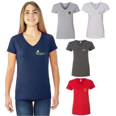 Fruit of the Loom® Sofspun® Ladies Junior Fit V-Neck T-Shirt (White)