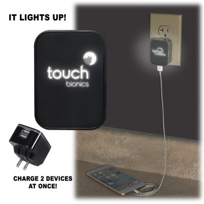 Light-Up-Your-Logo Duo USB Wall Charger