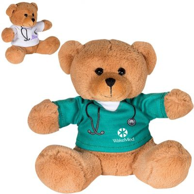 "7"" Doctor or Nurse Plush Bear w/T-Shirt"