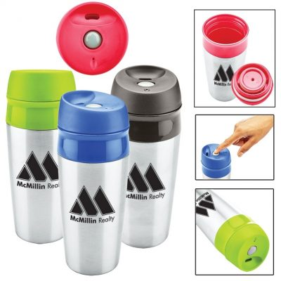 13 Oz. Two Tone Stainless Tumbler w/Push Locking Lid