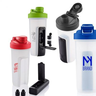 20 Oz. Shaker Fitness Bottle w/Wireless Earbuds