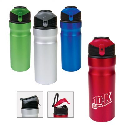 24 Oz. Aluminum Water Bottle w/Flap-Up Lid