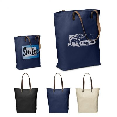 Urban Cotton Tote w/PU Leather Handles