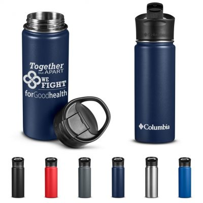 18 Oz. Columbia® Double-Wall Vacuum Bottle w/Sip-Thru Top