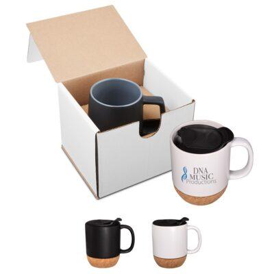 14 Oz. Ceramic Mug w/Cork Base in Individual Mailer