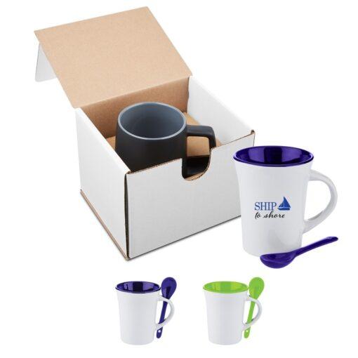 10 Oz. Two-Tone Ceramic Mug w/Matching Spoon in Individual Mailer
